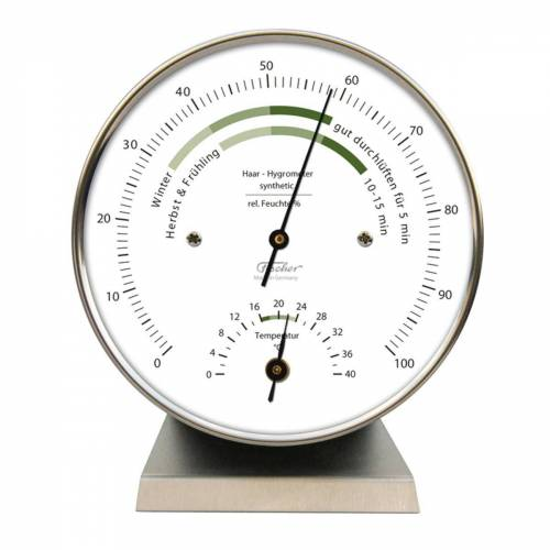 Fischer Barometer »Wohnklima Thermo- Hygrometer, Edelstahlsockel« Innenwetterstation