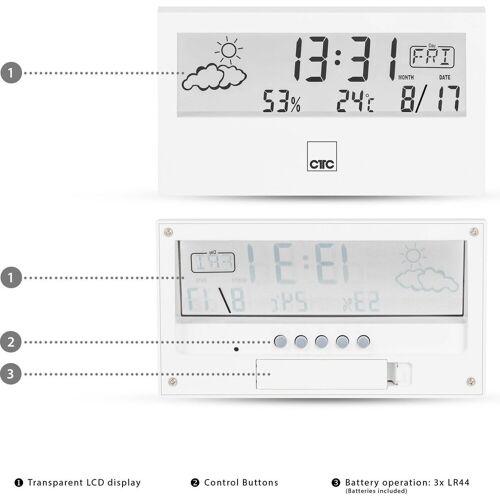 CLATRONIC »WSU 7022 Wetterstation mit Uhr weiß« Funkwetterstation