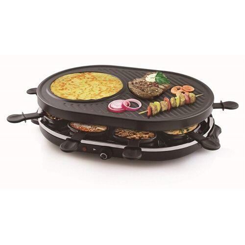 Tristar Raclette, 8 Raclettepfännchen, 1200 W, Modernes Raclette Gerät für 2-8 Personen, ovaler Tischgrill Crepesmaker, Raclet mit 1400 Watt