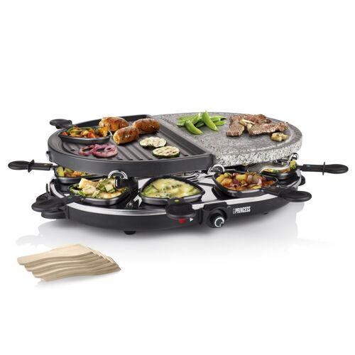 Princess Raclette, 8 Raclettepfännchen, 1200 W, Modernes Raclette Gerät für 2-8 Personen, ovaler Tischgrill mit Grill- & Steinplatte 1200 Watt, Steingrill, Raclet