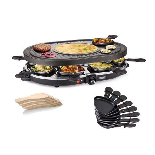 Princess Raclette, 8 Raclettepfännchen, 1200 W, Modernes Raclette Gerät für 2-8 Personen, ovaler Tischgrill mit Crêpefläche, 1200 Watt, Raclet Camping geeignet