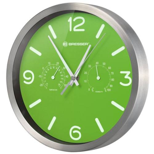 BRESSER Wanduhr »MyTime DCF Thermo-/ Hygro- Wanduhr 25cm«, grün