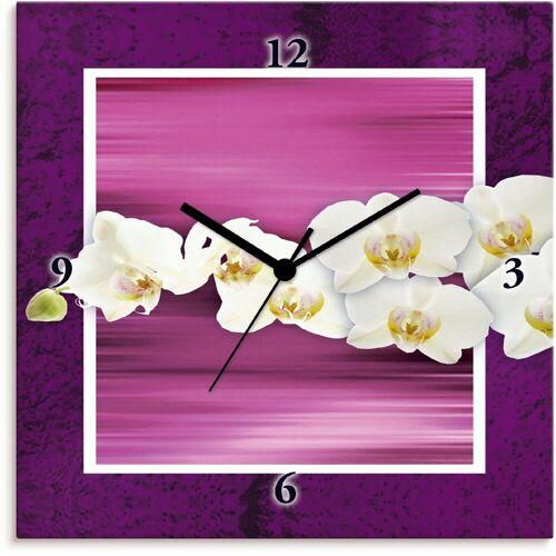 Artland Wanduhr »Orchideen - violett«