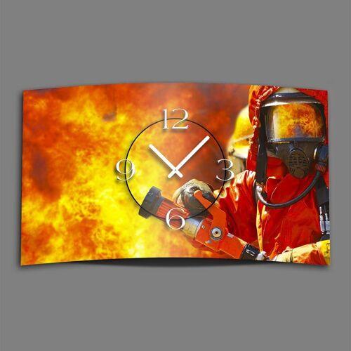 dixtime Wanduhr »Feuerwehr Designer Wanduhr modernes Wanduhren« (Einzigartige 3D-Optik aus 4mm Alu-Dibond)