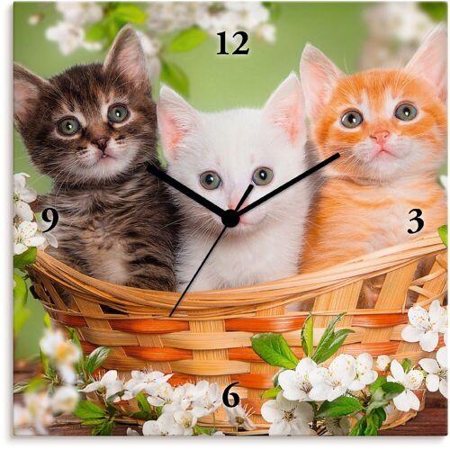 Artland Wanduhr »Katzen sitzen in einem Korb«