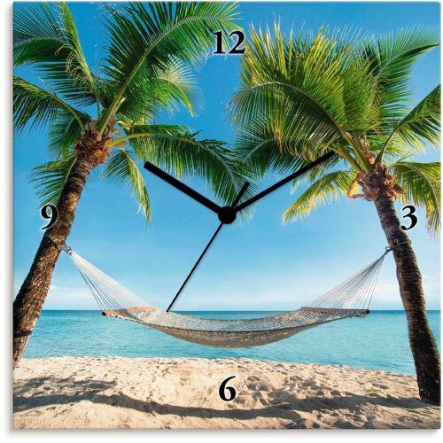 Artland Wanduhr »Palmenstrand Karibik mit Hängematte«