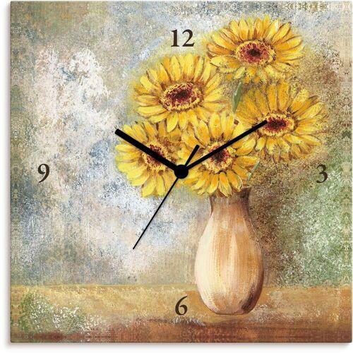 Artland Wanduhr »gelbe Gerberas in Vase I«