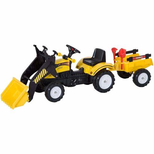HOMCOM Go-Kart »Traktor mit Fontlader und Anhänger«