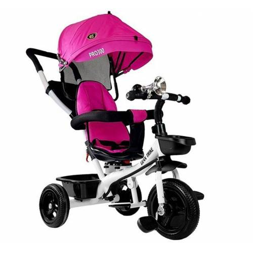 LEAN Toys Dreirad »Dreirad Easy Trike Wave Sonnenschutz, Lenkstange«, u. Korb Pink rosa