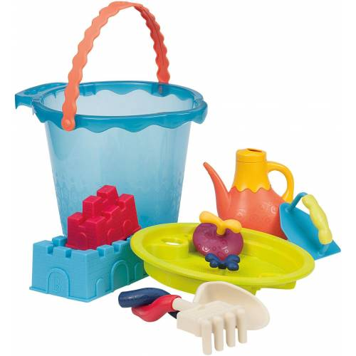 B.toys Sandspielzeug mit Gießkanne, »Sandspielzeug Large Bucket Set Sea«, blau