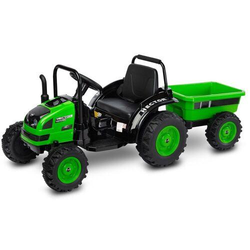 Caretero Elektro-Kindertraktor »Kinder Elektro Bulldog Hector Traktor elektrisch«, Green 12V Trecker m. Anhänger 152,00 × 63,00 × 60,00 cm