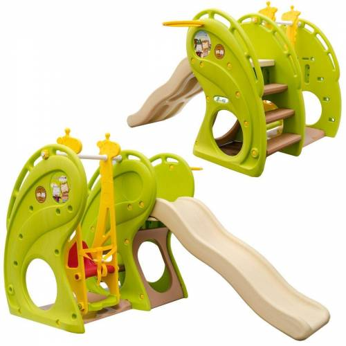 LittleTom Rutsche »Kinderrutsche mit Schaukel Kinderschaukel/Rutsche«, 180x110x120 cm Grün-Braun-Beige