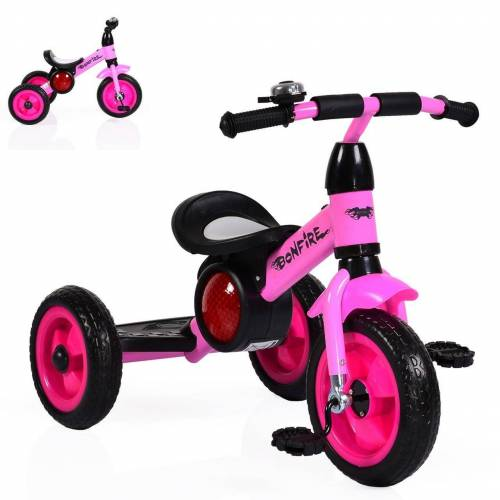 Moni Dreirad »Dreirad Bonfire«, mit EVA-Reifen, Trittbrett, Musik, Licht, Fahrradklingel, rosa