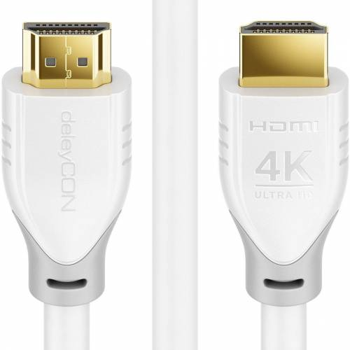 deleyCON »3,0m HDMI HDR10+ UHD 4K@60Hz YUV 4:4:4 HDCP 2.2 3D ARC Dolby Weiß« HDMI-Kabel