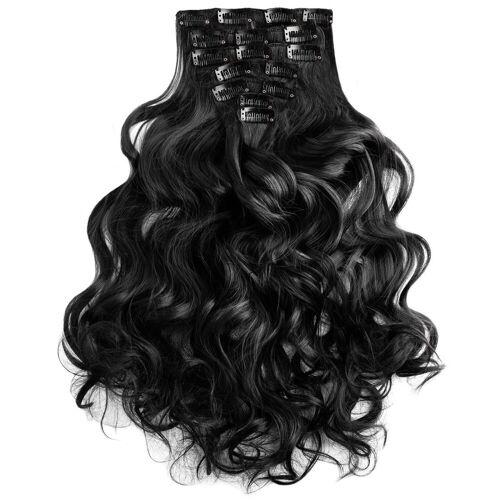 MyBeautyworld24 Haarclip »Clip In Extensions Haarverlängerung Set – 7 Haarteile Extensions Haarverlängerung 60 cm«, schwarz