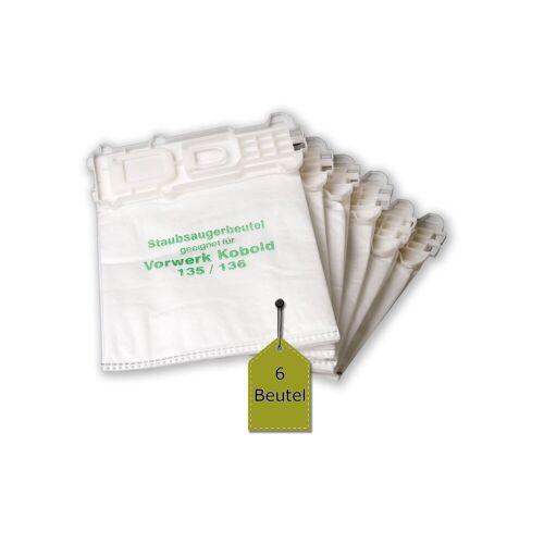 eVendix Staubsaugerbeutel 6 Staubsaugerbeutel / Filtertüten passend für Vorwerk Kobold VK 135, 135 SC, 136, passend für Vorwerk