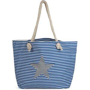 styleBREAKER Strandtasche, Gestreifte Strandtasche mit Stern, Blau-Weiß / Silber