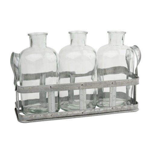VBS Metallkorb mit 3 Flaschenvasen
