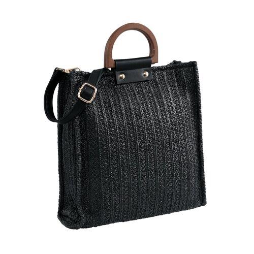 heine Tasche mit Holzgriff, schwarz