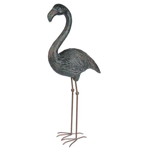 HTI-Living Gartenfigur Flamingo, Grün, Kupfer