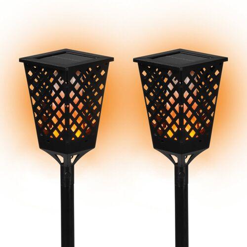 PRIMA GARDEN LED Solar Fackelleuchte 2er Set,Kabellos, schwarz