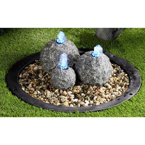 Ubbink Gartenbrunnen »Kozani«, 54 cm Breite, Wasserbecken BxT: 68x68 cm, (Komplett-Set, 3 Granitkugeln mit LED Beleuchtung; Pumpe (1.500 l/h, 10 W, 230 V); Becken; Abdeckplatte; 10-m-Kabel; Anschlussmaterial)