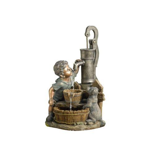 Dehner Gartenbrunnen »Junge mit LED, 68.5 x 37 x 39 cm, Polyresin«