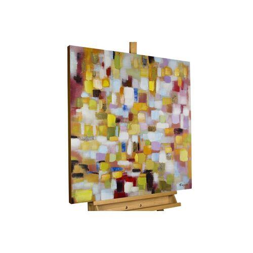 KUNSTLOFT Gemälde »Flickenteppich in Pastell«, handgemaltes Bild auf Leinwand