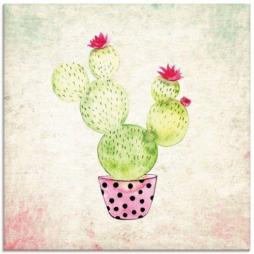 Artland Glasbild »Kaktus in Love Lustige Kaktus«, Pflanzen (1 Stück)