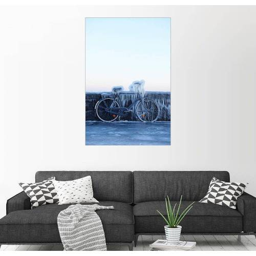 Posterlounge Wandbild, Frostiges Fahrrad