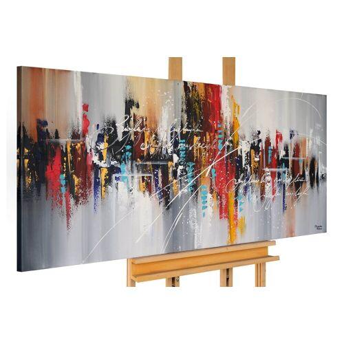 KUNSTLOFT Gemälde »Feuerwerk am Nachthimmel«, handgemaltes Bild auf Leinwand