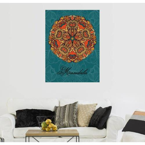 Posterlounge Wandbild, Mandala auf blau