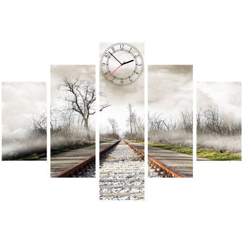 Conni Oberkircher´s Bild »Stormy Rails«, Eisenbahn (Set), mit dekorativer Uhr