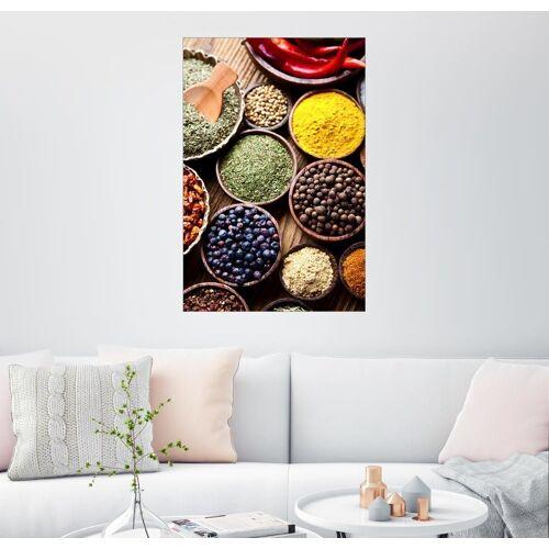 Posterlounge Wandbild, Leinwandbild Gewürze auf einem Holztisch