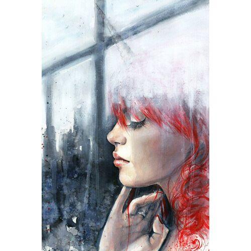 queence Acrylglasbild »Frau am Fenster«