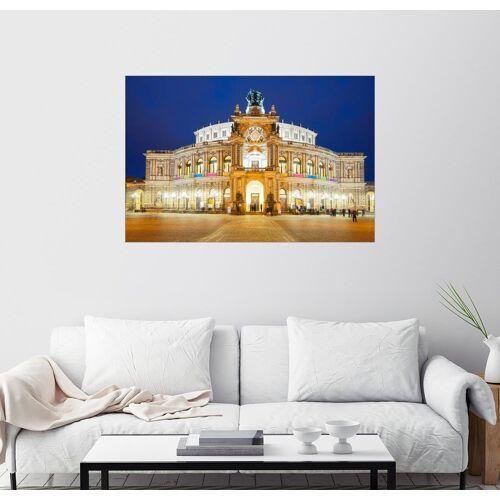 Posterlounge Wandbild, Semperoper von Dresden bei Nacht