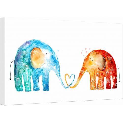 Leinwandbild »Hagenmeyer - Elefantenliebe«, Elefanten, 45/30 cm, bunt