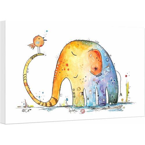 Leinwandbild »Hagenmeyer - Elefant mit Vogel«, Elefant, 45/30 cm, bunt