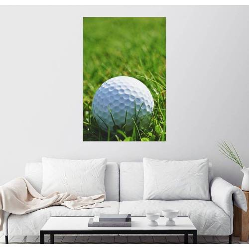 Posterlounge Wandbild »Golfball im Gras«, grün