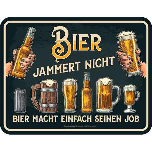 Rahmenlos Blechschild mit witzigem Spruch »Bier jammert nicht«, mehrfarbig