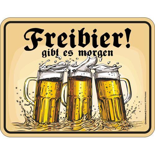 Rahmenlos Blechschild mit lustigem Bier-Motiv »Freibier gibt es morgen«, mehrfarbig