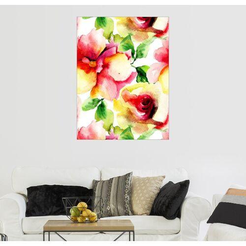 Posterlounge Wandbild »Aquarellmalerei mit Rosenblüten«, bunt