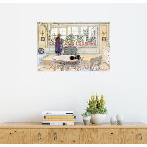 Posterlounge Wandbild - Carl Larsson »Blumen auf der Fensterbank«, naturfarben