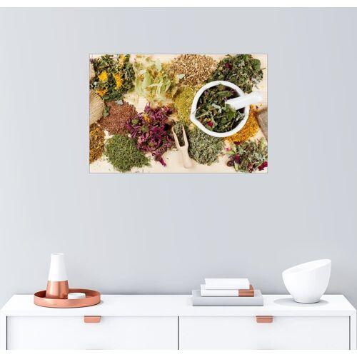 Posterlounge Wandbild »Heilkräuter auf Holztisch«, bunt