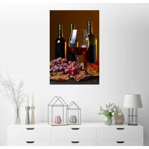 Posterlounge Wandbild, Rotwein mit Trauben und Weinblättern