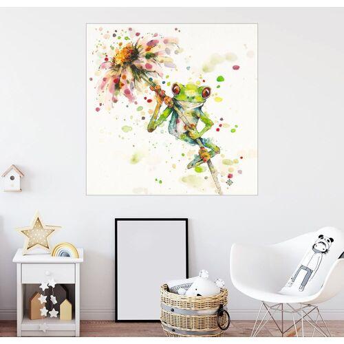 Posterlounge Wandbild, Laubfrosch mit Blume