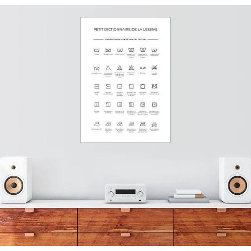 Posterlounge Wandbild, Wasch- & Pflegesymbole (Französisch)