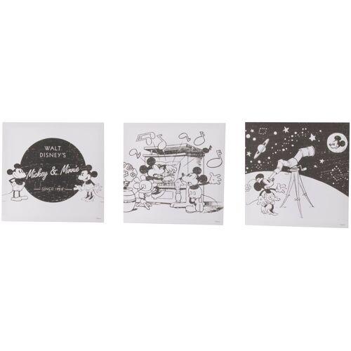 ART for the home Set: Leinwand »Mickey & Minnie im All«, Disney, 3-er Set, schwarz/weiß