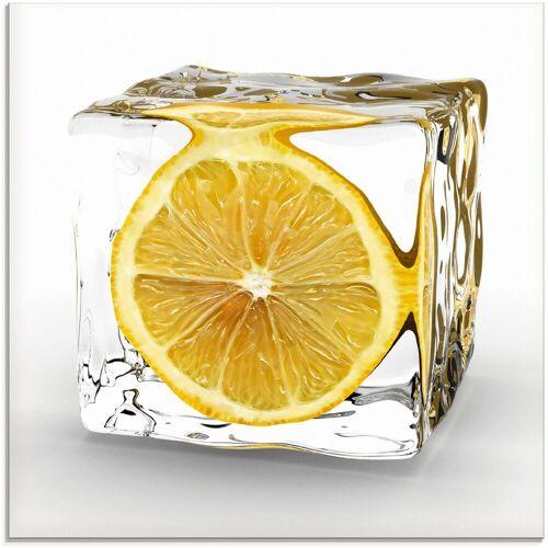 Artland Glasbild »Zitrone im Eiswürfel«, Lebensmittel (1 Stück)