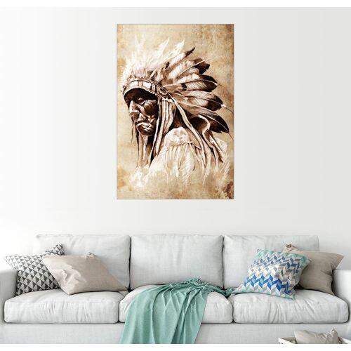 Posterlounge Wandbild, Alter Indianer mit Federschmuck